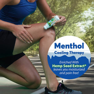 Woman applying Hempvana Cold As Ice to her knee. Headline says Menthol cooling therapy, enriched with hemp seed extract leaves you moisturized and pain free
