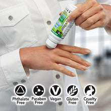 Load image into Gallery viewer, Woman applying Hempvana Cold As Ice to her hand. Headlines say phthalate free, paraben free, vegan, gluten free, cruelty free