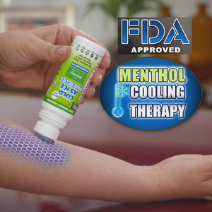 Woman applying Hempvana Cold As Ice to her arm. Headline says FDA approved menthol cooling therapy