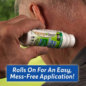 Man applying Hempvana Cold As Ice to his neck. Headline says rolls on for an easy mess free application