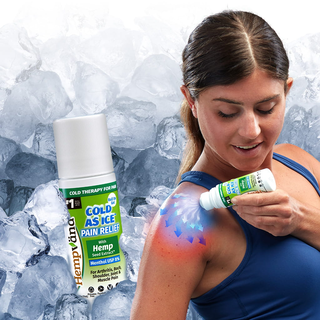 Woman applying Hempvana Cold As Ice to her shoulder