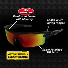 Load image into Gallery viewer, Battle Vision Polarized Sunglasses with labeled info