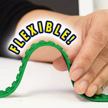 Load image into Gallery viewer, Demonstration of Build Bonanza Flexible Building Blocks. Man bending a Build Bonanza strip. Headline says Flexible.