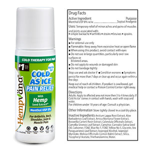 Hempvana Cold As Ice bottle with Drug Facts label