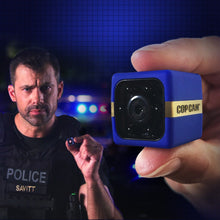 Load image into Gallery viewer, Close up of Cop Cam in someone's hand and man in police vest holding a Cop Cam