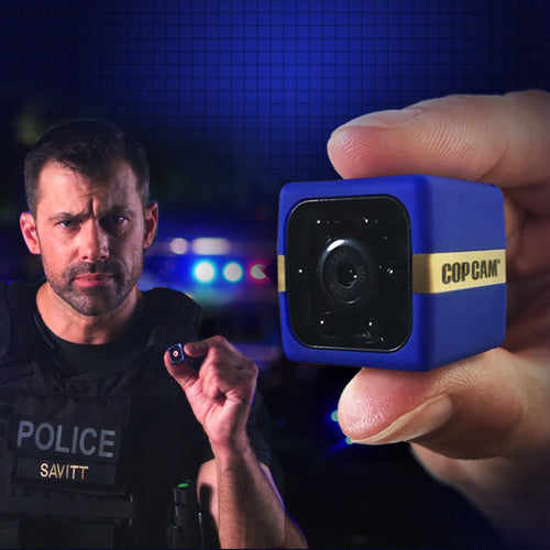 Close up of Cop Cam in someone's hand and man in police vest holding a Cop Cam