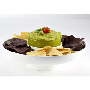 Casabella Guac-lock Container and Tray with guacomole in the container and chips in the tray