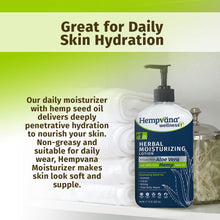 Load image into Gallery viewer, Bottle of Hempvana Moisturizer sitting on a shelf with white towels and a jar of cotton swabs. Headline says, Great for Daily Skin Hydration