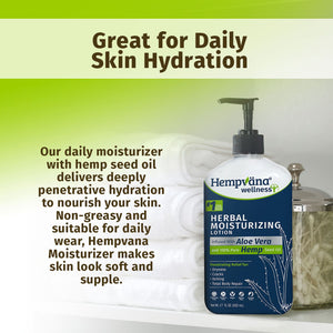 Bottle of Hempvana Moisturizer sitting on a shelf with white towels and a jar of cotton swabs. Headline says, Great for Daily Skin Hydration