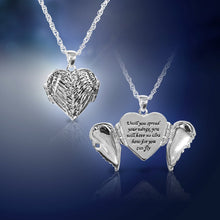 Load image into Gallery viewer, Silvertone Winged Heart Locket Necklace