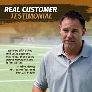 Photo of Mike Alstott with testimonial for Hempvana Gold