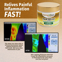 Load image into Gallery viewer, Infrared images of a person's leg before and after application of Hempvana Gold