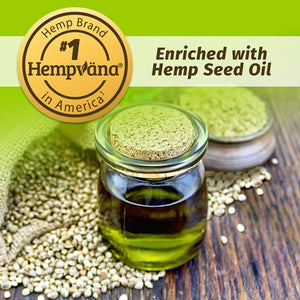 Hemp seed oil in jar with hemp seeds. Pain Relief from the #1 Hemp Brand In America, enriched with Hemp Seed Oil