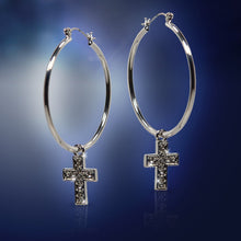 Load image into Gallery viewer, Silver Cross Hoop Earrings