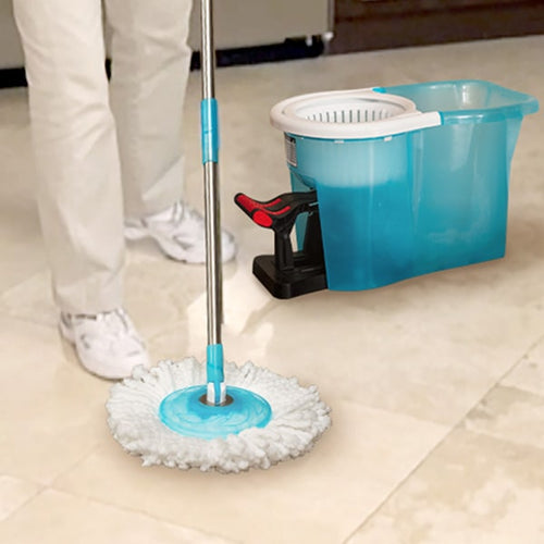 Hurricane Spin Mop and bucket in use