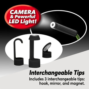 3 Lizard Cam interchangeable tips. Text says includes 3 interchangeable tips: hook, mirror, and magnet. Camera and powerful LED light!