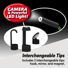 Load image into Gallery viewer, 3 Lizard Cam interchangeable tips. Text says includes 3 interchangeable tips: hook, mirror, and magnet. Camera and powerful LED light!