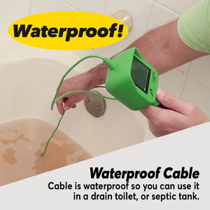 Lizard Cam being used in a bathtub with water in it. Text says Waterproof! Cable is waterproof so you can use it in a drain toilet or septic tank
