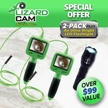 Load image into Gallery viewer, Two Lizard Cams, Atomic Beam Flashlight. Headlines say Lizard Cam, Special Offer, Two Pack Plus An Ultra Bright LED Flashlight, Over ninety nine dollar value