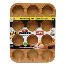 Load image into Gallery viewer, Red Copper 12 Muffin Pan packaging