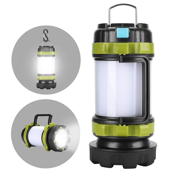 Green and black camping lantern to the right with two gray insets to the left showing the lantnern light and flashlight; isolated on white background.
