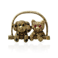 Load image into Gallery viewer, Antique Gold Dog and Cat Brooch Pin