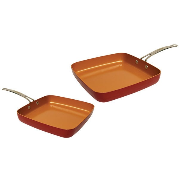 Two Red Copper Square Pans isolated on a white background