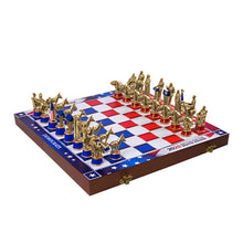 Load image into Gallery viewer, Wooden chess board laid out with all the chess set pieces in their respective places