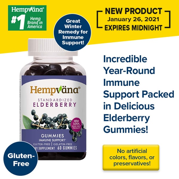 clear bottle with white and purple label reading hempvana standardized elderberry gummies immune support. There is also more text reading incredible year-round immune support packed in delicious elderberry gummies! a yellow rectangle on the bottom right has text reading no artificial colors, flavors, or preservatives! all on a white and yellow background.