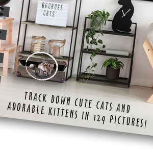 Close up of the bottom part of the front cover. Text shown says track down cute cats and adorable kittens in 129 pictures!