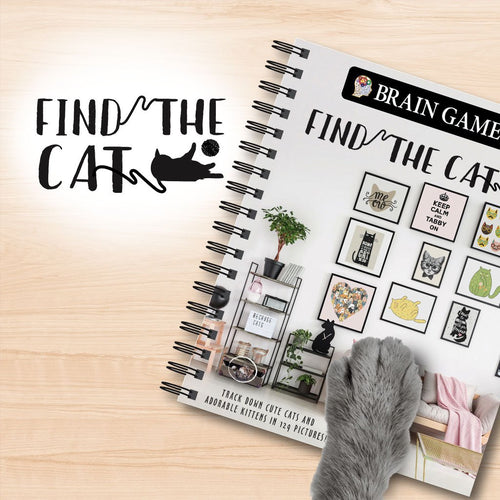 Find the Cat Puzzle Book on wooden background with a gray cat's paw resting on it. Text says Find The Cat