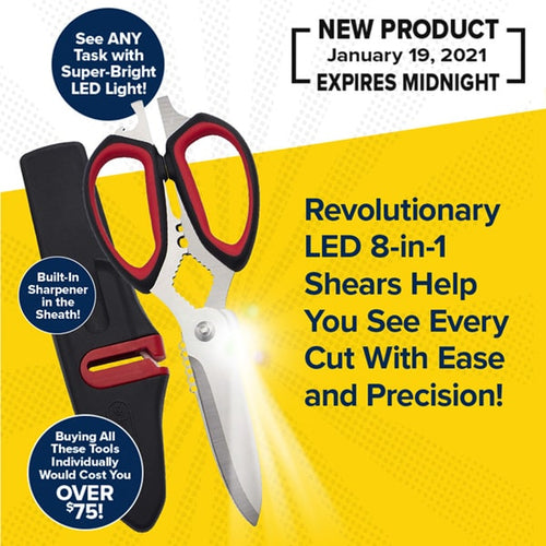 "A pair of silver kitchen shears shining light with a red and black handle isolated on a yellow and white background. Next to the shears is a protective sheath to the left. To the right is a headline that reads ""Revolutionary LED 8-in-1 Shears Help You See Every Cut With Easy and Precision!"""