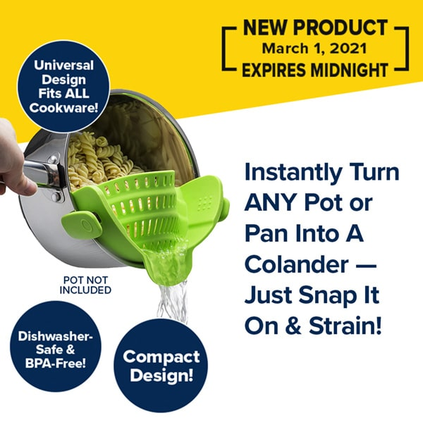 A silver pot is straining rotini pasta using a green clip-on colander isolated on a white background with a yellow banner at the top. The headline reads Instantly Turn Any Pot or Pan Into A Colander!