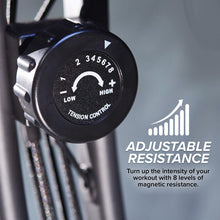"Load image into Gallery viewer, Adjustable resistance tension control meter, includes text ""Adjustable Resistance"", ""Turn up the intensity of your workout with 8 levels of magnetic resistance"""