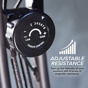 "Adjustable resistance tension control meter, includes text ""Adjustable Resistance"", ""Turn up the intensity of your workout with 8 levels of magnetic resistance"""