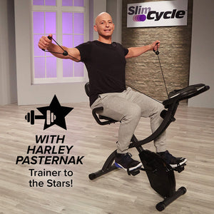 Harley Pasternak on a Slim Cycle, text says with Harley Pasternak Trainer to the Stars