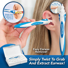 Load image into Gallery viewer, Close up of woman putting Smart Swab into ear. Multiple images of a Smart Swab, Smart Swab in its case, and demonstration of what it looks like inside the ear when Smart Swab is cleaning. Text says Easy Earwax Removal, Simply Twist to Grab and Extract Earwax