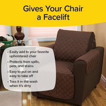 Load image into Gallery viewer, Couch Coat Chair on chair. Headlines say Give Your Chair A Facelift, Easily add to your favorite upholstered chair. Protects from spills pets, and stains. Easy to put on and easy to take off. Toss it in the wash when it's dirty
