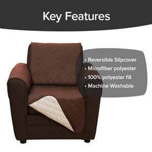 Couch Coat Chair on chair. Headlines say Key Features, Reversible Slipcover, Microfiber Polyester. One hundred Percent Polyester Fill, MAchine Washble