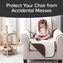 Load image into Gallery viewer, Couch Coat Chair on chair with child sitting on it. Headline says Protect Your Chair From Accidental Messes.
