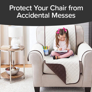 Couch Coat Chair on chair with child sitting on it. Headline says Protect Your Chair From Accidental Messes.