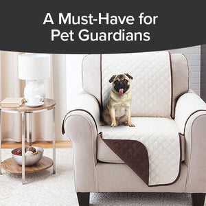 Couch Coat Chair on chair with dog sitting on it. Headline says A Must Have For Pet Guardians