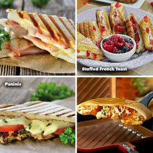 Load image into Gallery viewer, 4 images of paninis and stuffed french toast to demonstrate the meals that can be made with Red Copper Flipwich