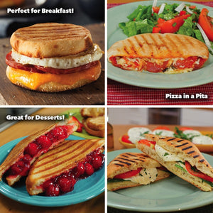 More images of different paninis. Headlines say perfect for breakfast, pizza in a pita, great for desserts.