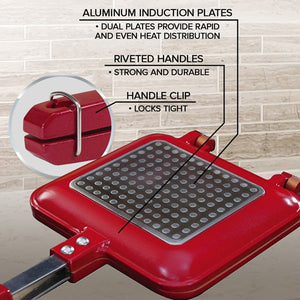 Red Copper Flipwich and its features. Headlines say aluminum induction plates, dual plates provide rapid and even heat distribution, riveted handles, strong and durable, handle clip, locks tight