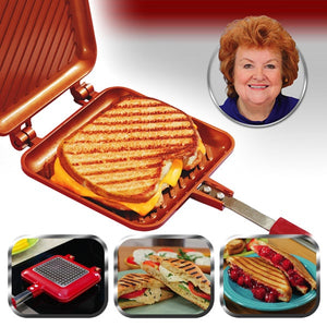 Images of a Red Copper Flipwich with a grilled cheese inside, paninis that can be made with the Red Copper Flipwich, and Cathy Mitchell.