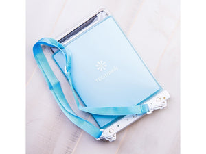 White Tech Candy Dry Spell Tablet Case upside down, showing carrying strap
