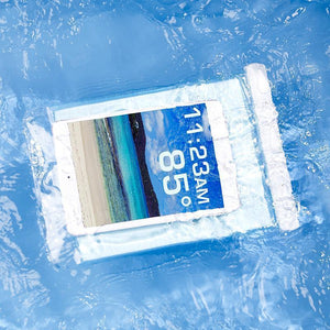 A tablet inside a Tech Candy Dry Spell Tablet Case submerged in water