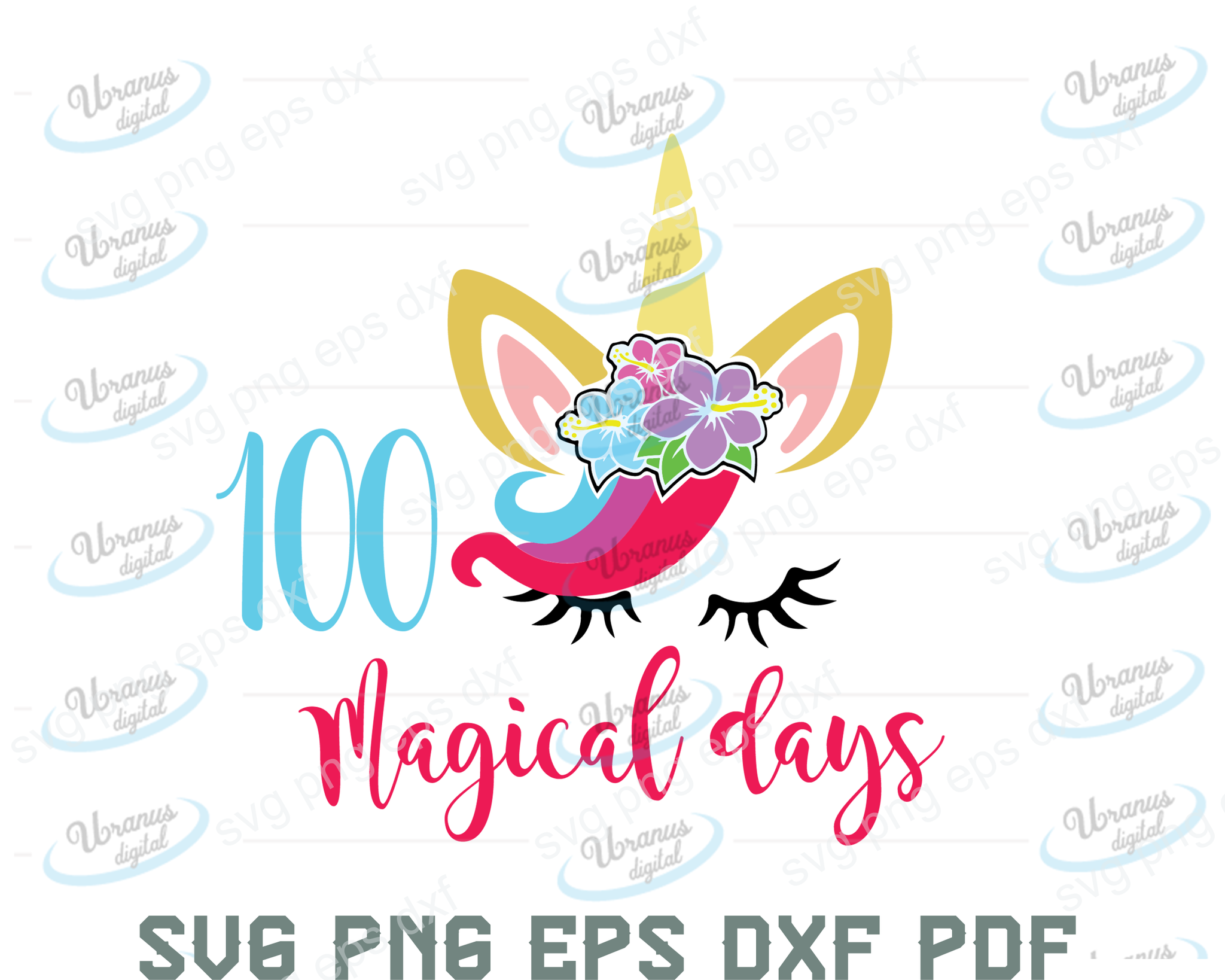 Copy of 100 magical dayas SVG,SVG Files For Silhouette, Files For Cricut, SVG, DXF, EPS, PNG Instant Download