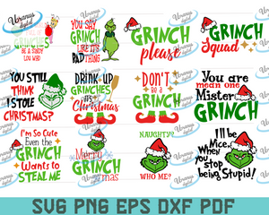 Grinch bundle SVG Files For Silhouette, Files For Cricut, SVG, DXF, EPS, PNG Instant Download
